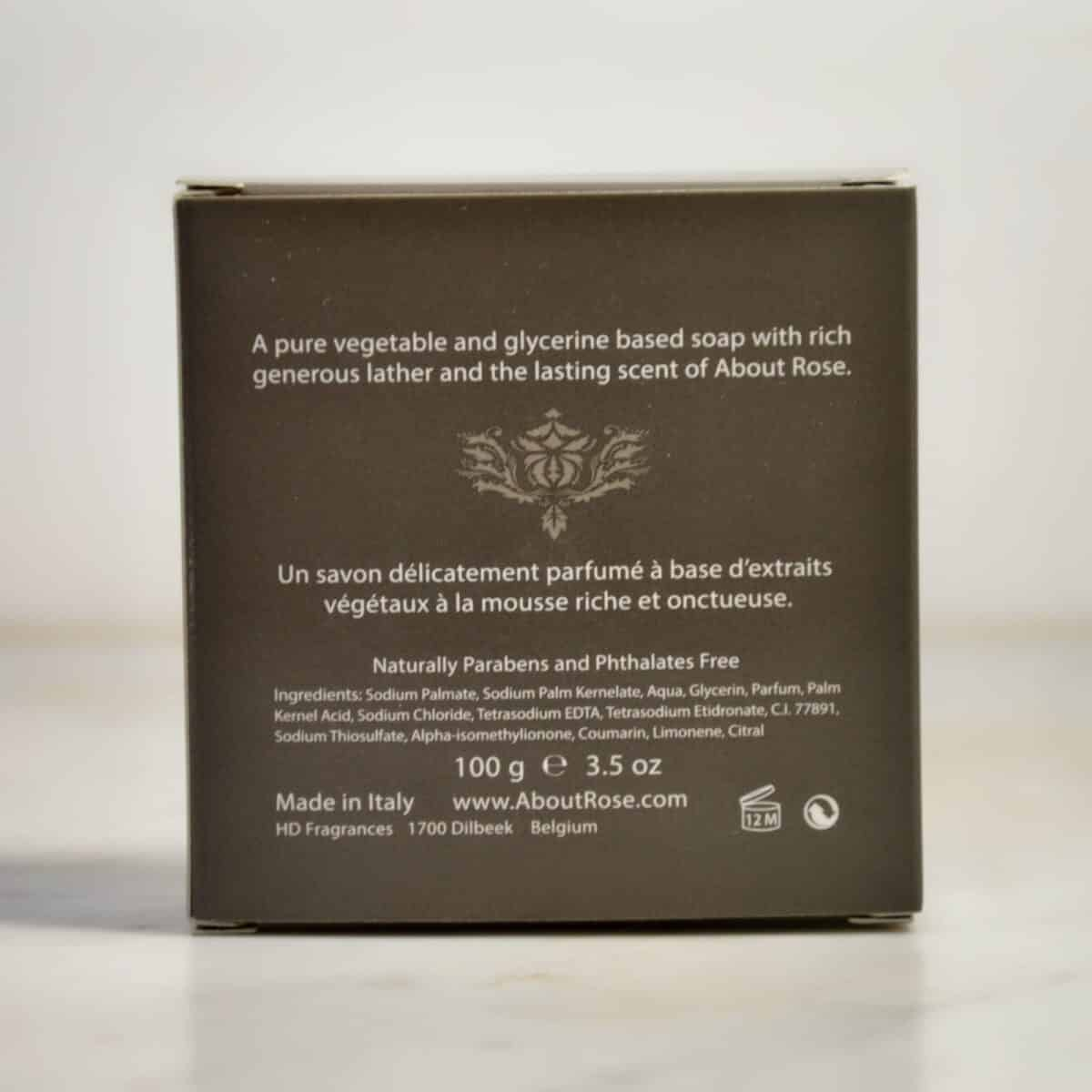 About Rose Imperial Luxury Soap Box ingredients